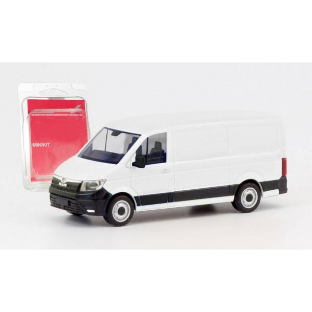 Herpa 013857 MiniKit: auto  MAN TGE Bus, biały   do składania (H0)