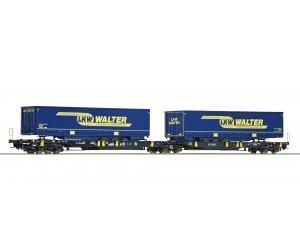rc67414 wagon platforma Wascosa   z naczepami LKW WALTER ep.VI (H0)