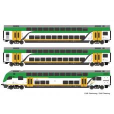 RC74160 zestaw 3 wagony pietrowe  Koleje Mazowieckie ep.VI (H0)