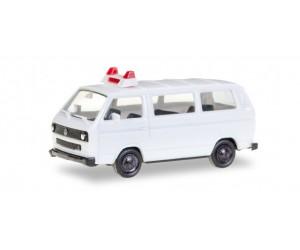 h012966  auto  VW T3 Bus biały,  policja, karetka, straż, MINI KIT (H0)