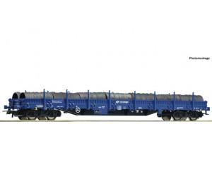 RC76590 wagon platworma Res  PKP Cargo z ładunkiem zwojów drutu ep.VI (H0)