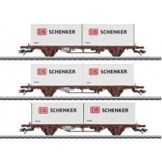 M47725 zestaw 3  wagony  platformy N-CN z kontenerami DB Schenker  ep.VI (H0)