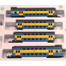 HRS4237- 4 wagonowy zespół piętrowy, serii Bhp, typ Goerlitz 73, PKP epoka Vb Stacja TORUŃ (H0)