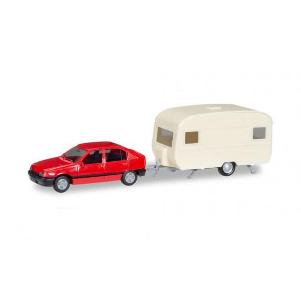 Herpa 013420 PROMO MiniKit: auto Opel Kadett E GLS z przyczepą  , czerwony  (H0) (686601)