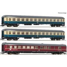 """Roco 74181 zestaw 3 wagony pociągu  D 229 """"Johann Strauß""""  DB ep.IV (H0)"""